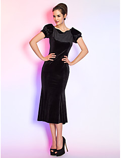 Homecoming Cocktail Party/Holiday Dress - Black Plus Sizes Trumpet/Mermaid Queen Anne Tea-length Velvet