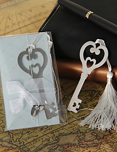 Silver Heart & Key bokmerke med dusk