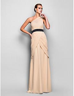 저녁 정장파티/밀리터리 볼 드레스 - 샴페인 시스/컬럼 바닥 길이 원 숄더 쉬폰 플러스 사이즈