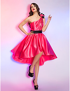 Homecoming Cocktail Party/Homecoming/Holiday Dress - Watermelon Plus Sizes A-line One Shoulder Asymmetrical Satin