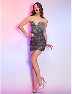 Cocktail Party/Holiday Dress - Black Apple/Hourglass/Pear/Plus Sizes/Petite/Misses Sheath/Column Strapless Short/MiniLace/Tulle/Stretch