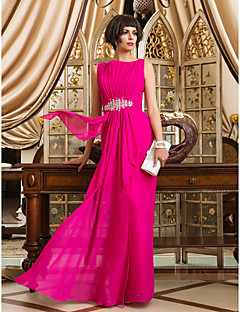 Formal Evening/Prom/Military Ball Dress - Fuchsia Sheath/Column Bateau Floor-length Chiffon