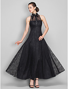 TS Couture Formal Evening / Military Ball Dress - Black Plus Sizes / Petite A-line High Neck Ankle-length Lace