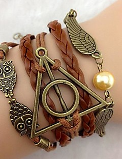 Men's Women's Leather Bracelet Multi Layer European Personalized Leather Triangle Shape Wings / Feather Infinity Owl Jewelry For Party