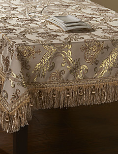 concise de broderie de dentelle d'or table de polyester beige tissu