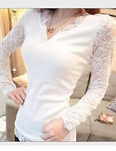 여성의 솔리드 V 넥 긴 소매 티셔츠,섹시 캐쥬얼/데일리 레드 / 화이트 / 블랙 면 / 나일론 봄 / 가을 얇음