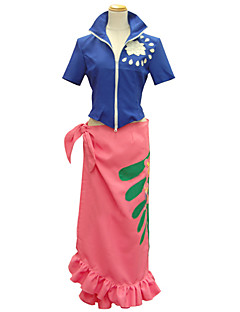 Inspired by One Piece Nico Robin Anime Cosplay Costumes Cosplay Suits Print Blue Short Sleeve Top / Skirt