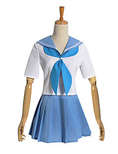 Inspired by KILL la KILL Cosplay Video Game Cosplay Costumes Cosplay Suits / School Uniforms Patchwork White / Blue Short SleeveTop /