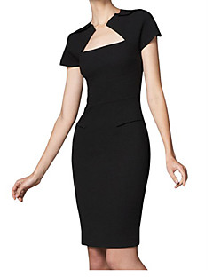 MIUSOL vrouwen de westerse mode Bateau Afslanken Bodycon korte mouw Dress (Zwart)