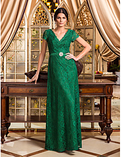 동창회 공식적인 저녁 / 군사 공 드레스 - 진한 녹색 플러스 라인 V 넥 바닥 길이 레이스 크기
