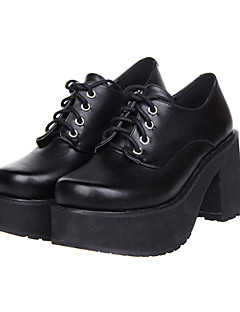 Black Lace-up Platform Classic Lolita PU Leather 8cm High-heeled Shoes