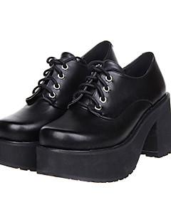 Black Lace-up Platform Classic Lolita PU Leather 8cm High-heeled Shoes