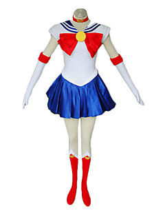Inspired by Sailor Moon Sailor Moon Anime Cosplay Costumes Cosplay Suits / Dresses Patchwork White / Red / Blue SleevelessDress /