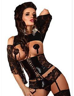 Women Underbust Corset Nightwear Solid Others Black Women's