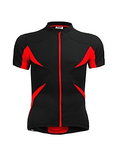 jaggad cykling trøje kortærmet sommer unisex sort rød polyester spandex tilbage lynlås lomme