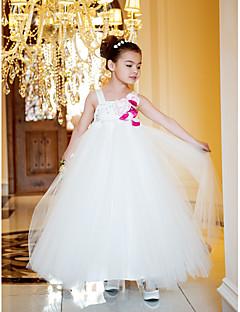 spalline a-line principessa caviglia tulle e il vestito dalla ragazza di fiore del raso (733.965)