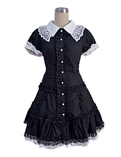 Short Sleeve Black Cotton Sweet Lolita Cosplay Dress with White Lace