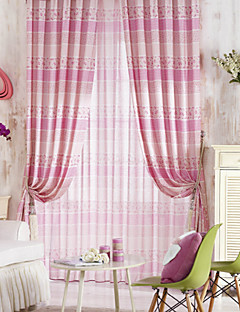 (Two Panels) Cute Country Pink Floral And Stripe Energy Saving Curtain