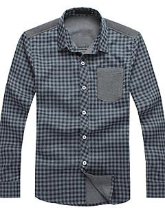 Kaying Men's Check Pattern Long Sleeves Shirt