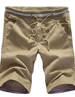 אנשיו של מכנס קצר (שורט) חלק כותנה יום יומי שחור / כחול / ירוק / כתום / שיזוף / בז'