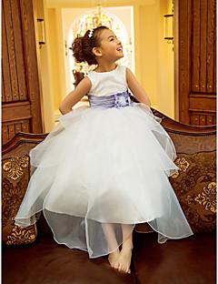 Flower Girl Dress - Linha-A/Princesa Comprimento Médio Sem Mangas Organza