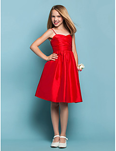 Knee-length Taffeta Junior Bridesmaid Dress - Ruby A-line / Princess Sweetheart / Spaghetti Straps