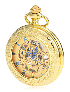 Men's Mechanical Hollow Dial Gold Alloy Pocket Watch Cool Watch Unique Watch