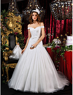 Lan Ting A-line Princess Court Train Tulle Wedding Dress