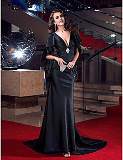 Vestido - preto Festa Formal Sereia Decote em V Sweep / Brush Train Cetim Esticado