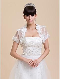 Wedding  Wraps Shrugs Short Sleeve Tulle Ivory Wedding / Party/Evening Open Front