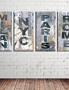 Sträckt Canvas Konst Retro Bli Words & Quotes Set med 4