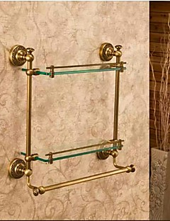 Bathroom Shelf Antique Bronze Wall Mounted 40*12*40cm(15.74*4.72*15.74inch) Brass / Glass Antique