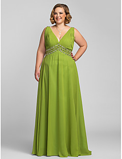 Formal Evening/Prom/Military Ball Dress - Clover Plus Sizes A-line V-neck Floor-length Chiffon