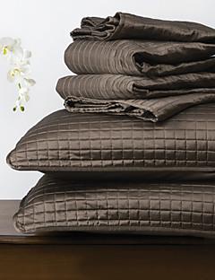huani® Quilt-Set, 3 Stück Schokolade Plaid Polyester