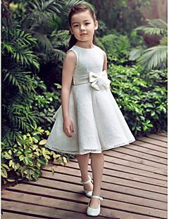Formeller Abend/Hochzeitsparty Kleid - Perlen Pink/Weiß Satin/Tülle - A-Linie - knielang - Juwel-Ausschnitt