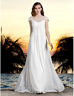 Lanting Bride Sheath/Column Petite / Plus Sizes Wedding Dress-Floor-length Bateau Tulle / Georgette