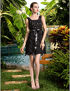 Cocktail Party/Holiday/Prom Dress - Black Plus Sizes A-line Scoop Short/Mini Chiffon/Lace