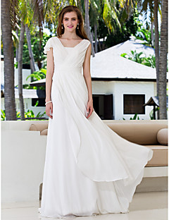 Lanting A-line Plus Sizes Wedding Dress - Ivory Sweep/Brush Train V-neck Georgette