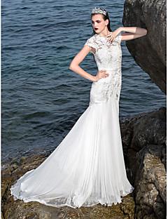 Lan Ting Fit & Flare Plus Sizes Wedding Dress - Ivory Court Train Jewel Chiffon/Stretch Satin