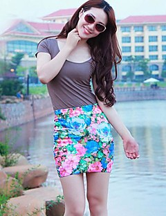 Kvinnors Short Skirt Flower Print Mini Skirt