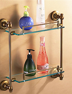 "Bathroom Shelf Aluminum Wall Mounted 45*12*38cm(17.7*4.7*14.95"") Aluminum / Glass Antique"