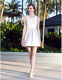 Lanting Bride A-line Petite / Plus Sizes Wedding Dress-Short/Mini V-neck Nylon Taffeta