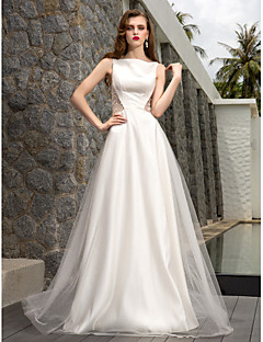 Lanting Bride A-line Petite / Plus Sizes Wedding Dress-Sweep/Brush Train Bateau Tulle