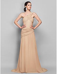 저녁 정장파티/밀리터리 볼 드레스 - 샴페인 시스/컬럼 스위프/브러쉬 트레인 원 숄더 조젯 플러스 사이즈