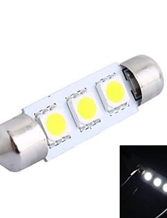 LED 39 millimetri 0.6W 6000K 50LM 3x5050 SMD Bianco per la lettura Car / Targa / Lampada porta (DC12V, 1Pcs)