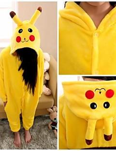 Kigurumi Pyjamas Pika Pika Gymnastikanzug/Einteiler Fest/Feiertage Tiernachtwäsche Halloween Gelb einfarbig Flanell Kigurumi Für Kind