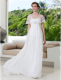 A-line Petite / Plus Sizes Wedding Dress-Ivory Sweep/Brush Train V-neck Tulle / Georgette
