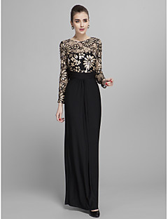 Formal Evening / Prom / Military Ball Dress - Black Plus Sizes / Petite Sheath/Column Jewel Floor-length Jersey