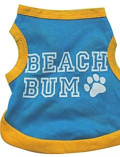 כלבים טי שירט כחול בגדים לכלבים קיץ מכתב ומספר יום יומי\קז'ואל