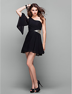 Homecoming Cocktail Party/Holiday/Prom Dress - Black Plus Sizes A-line One Shoulder Short/Mini Chiffon